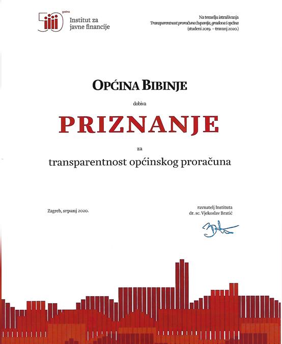 Općina Bibinje dobila je priznanje za transparentnost financija