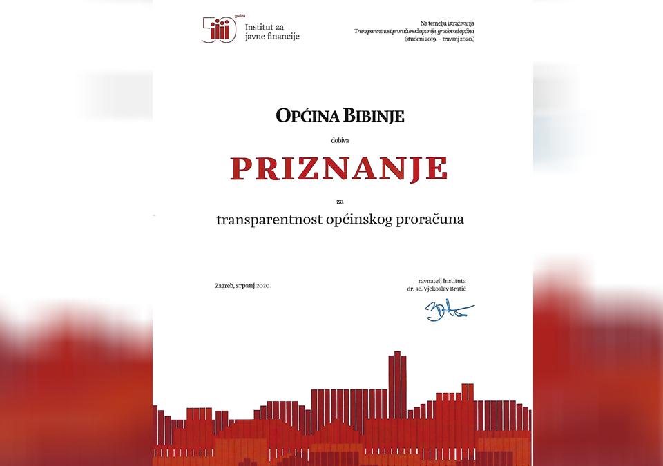 Općina Bibinje dobiva priznanje za transparentnost općinskog proračuna
